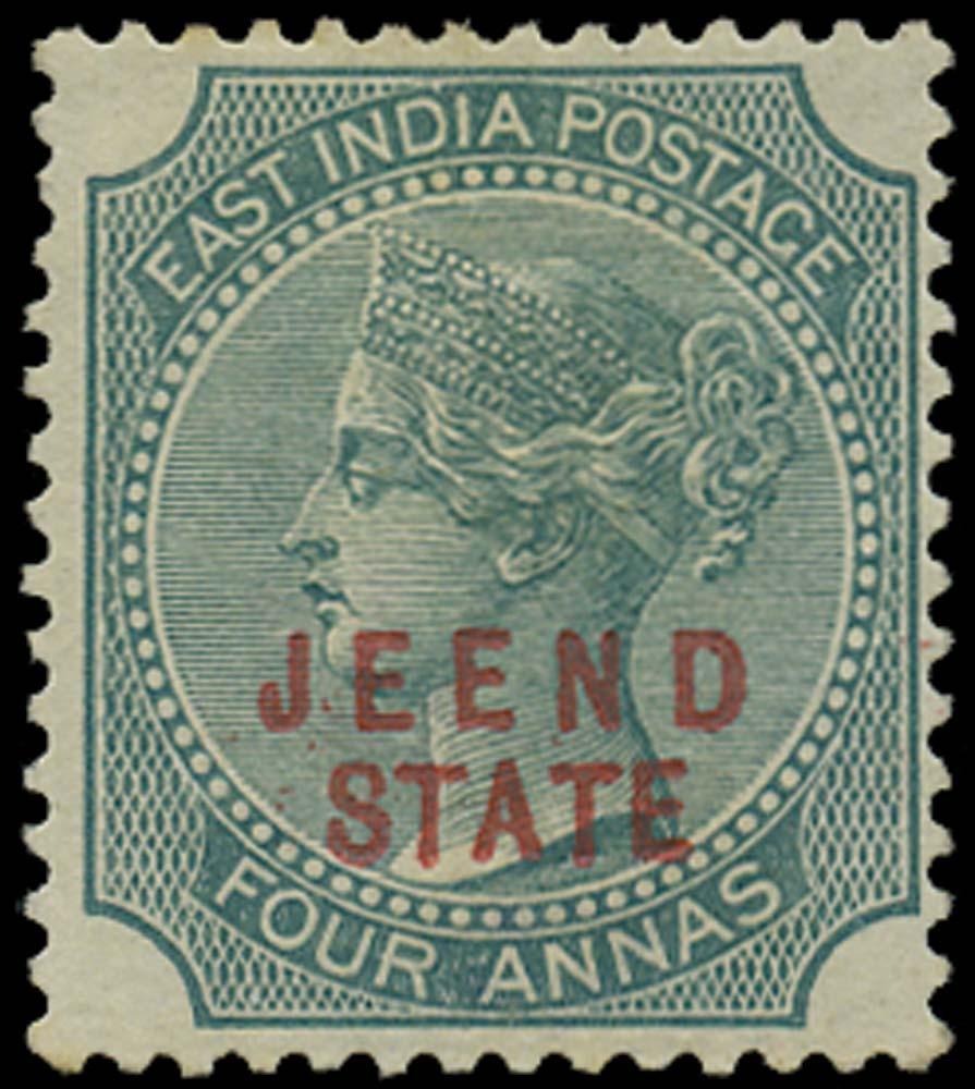 I.C.S. JIND 1885  SG10 Mint 4a green JEEND