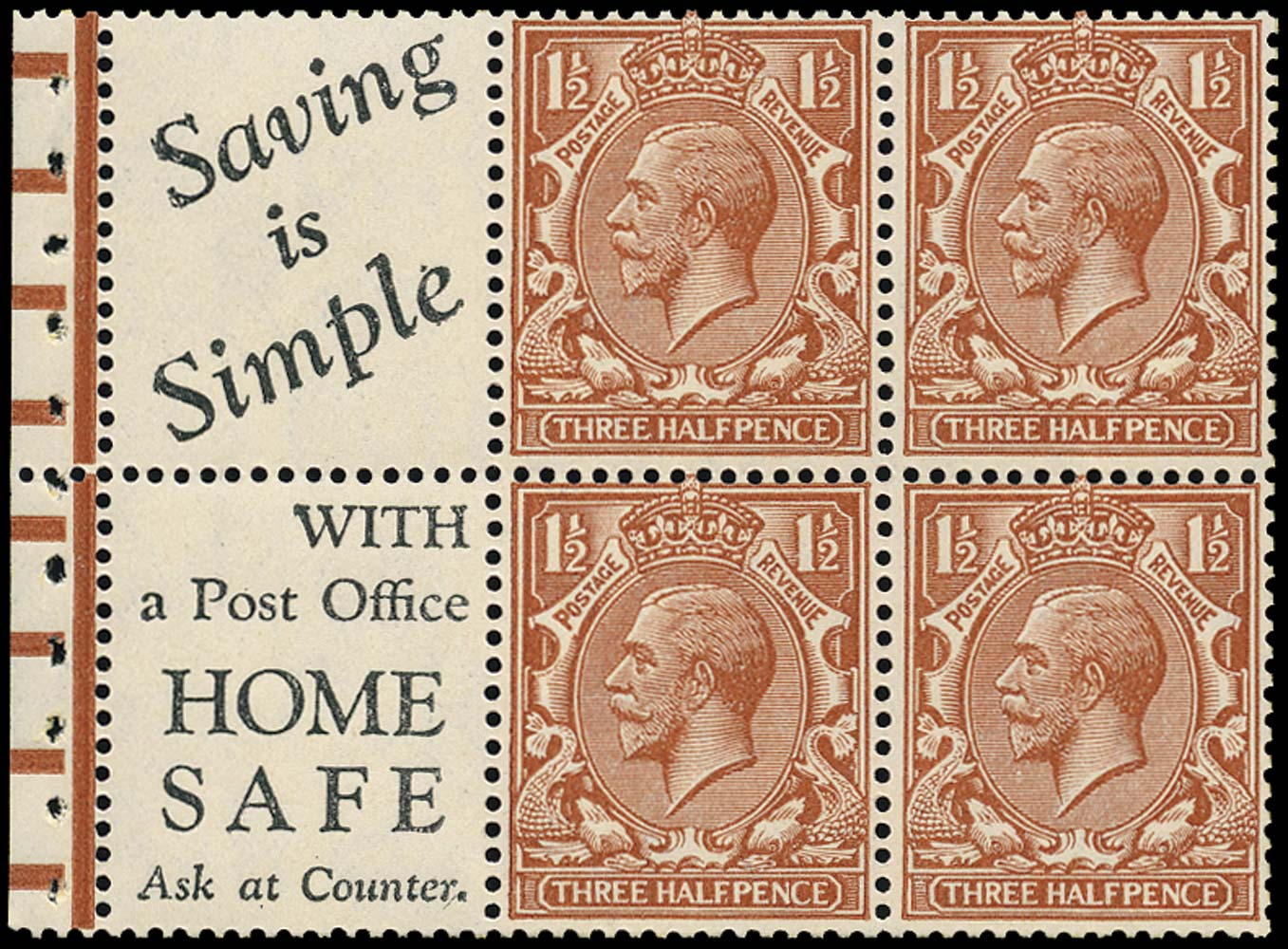 GB 1924  SG420d Mint Booklet Pane with Advert (7)