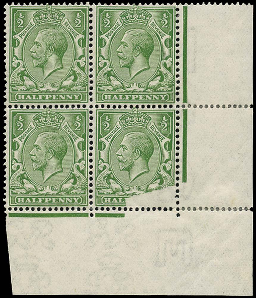 GB 1913  SG351var Mint Printing flaw on corner block