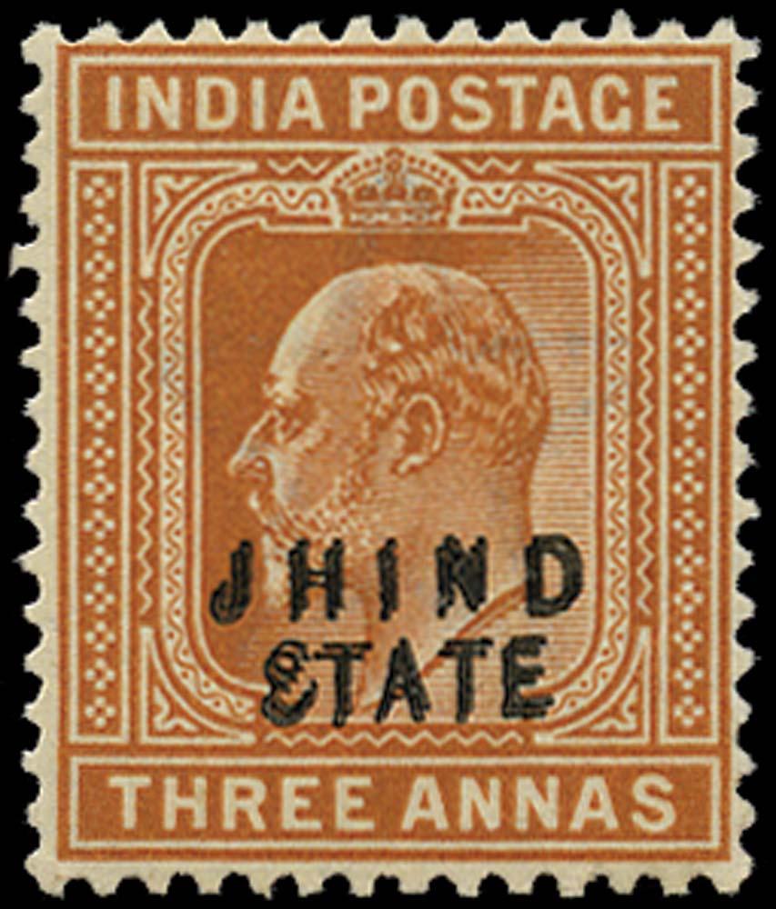I.C.S. JIND 1903  SG48a Mint 3a orange-brown overprint double