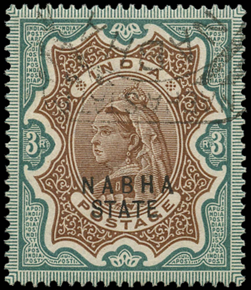 I.C.S. NABHA 1885  SG32 Used 3r brown and green