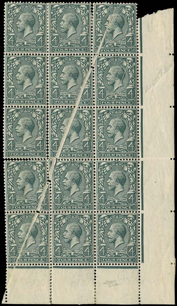 GB 1913  SG379var Mint Printing flaw on corner block of 15