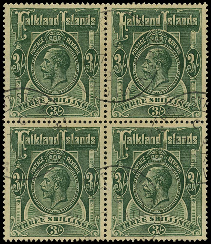 FALKLAND ISLANDS 1921  SG80 Used 3s green Script watermark