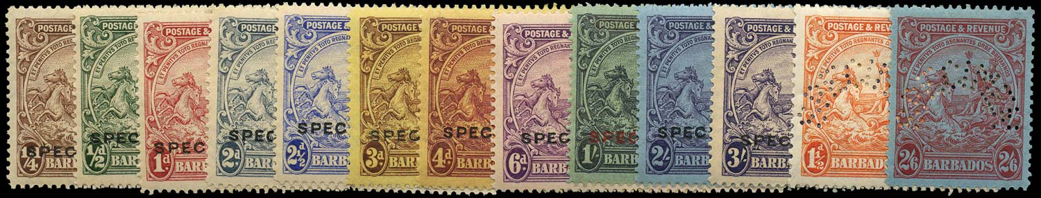 BARBADOS 1925  SG229s/39s Specimen set of 13 to 3s inclg 1925 values in pairs