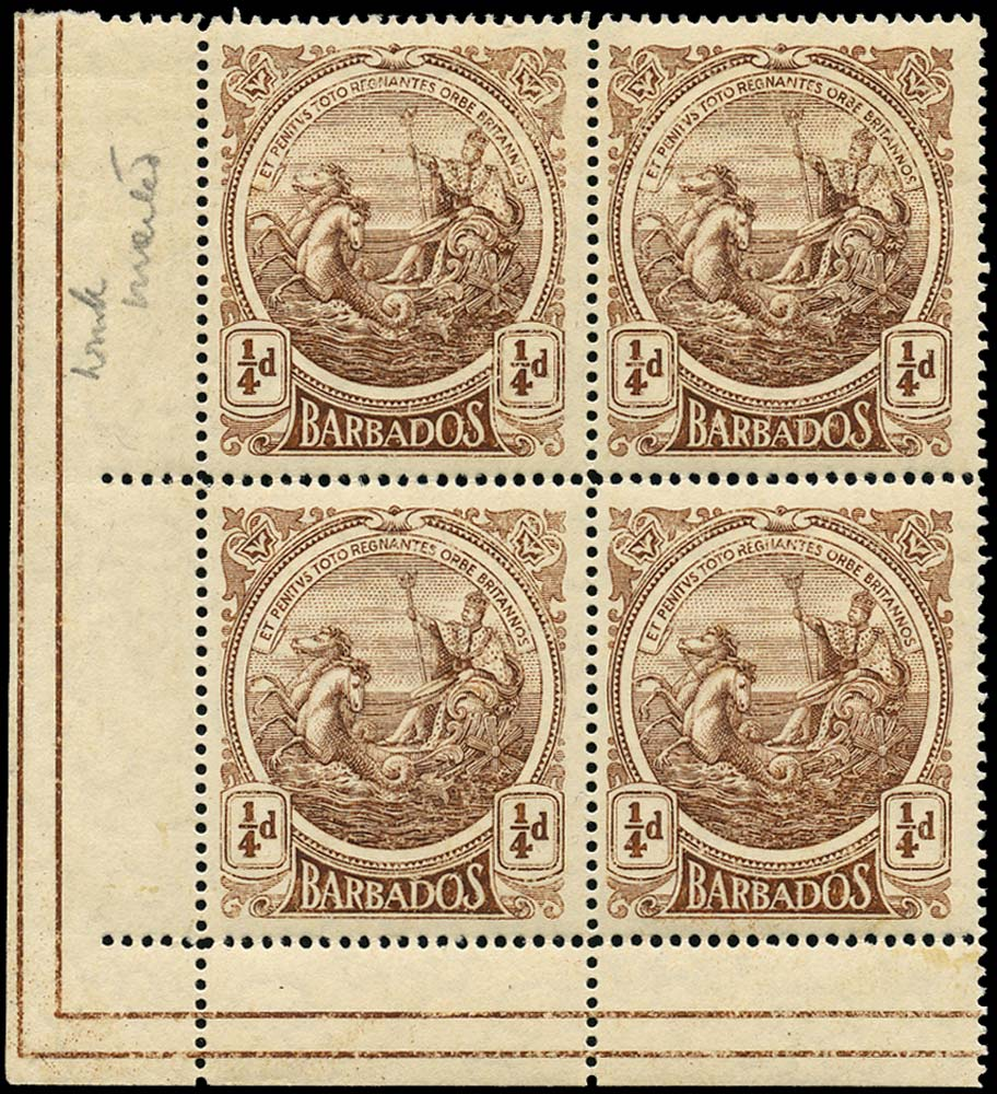 BARBADOS 1916  SG181w Mint ¼d watermark inverted unmounted