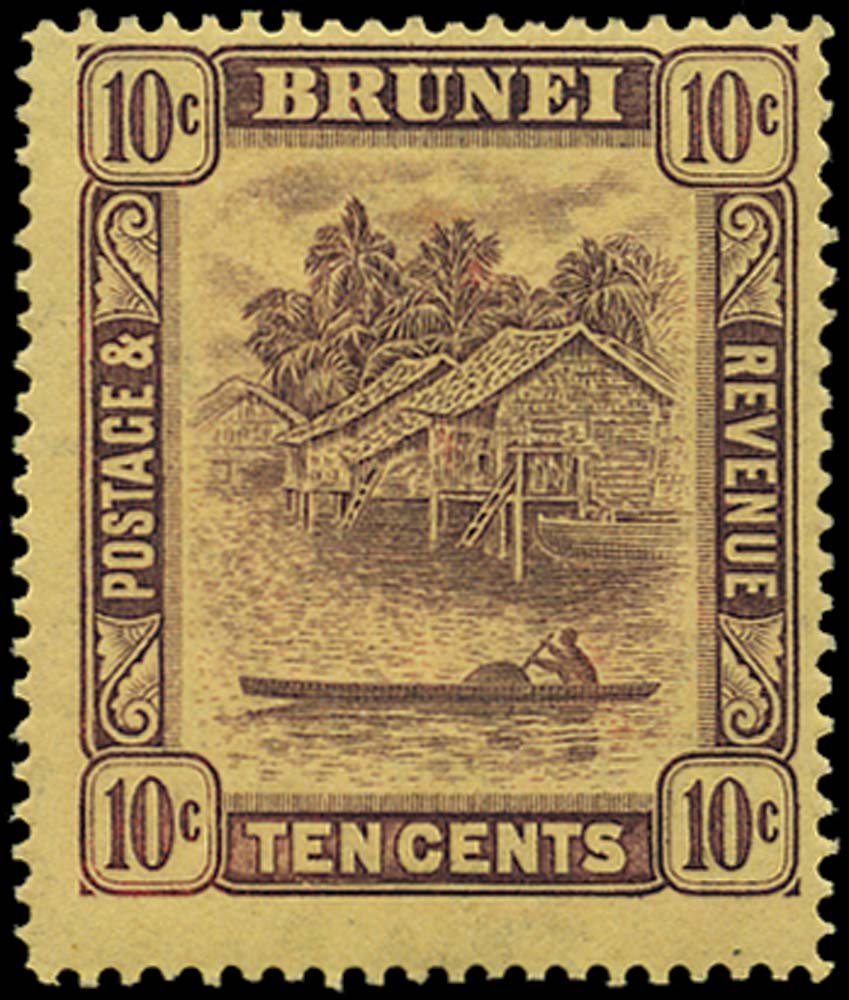 BRUNEI 1908  SG42y Mint 10c watermark inverted and reversed