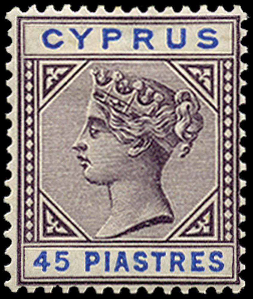 CYPRUS 1894  SG49 Mint 45pi grey-purple and blue