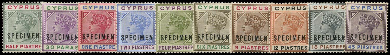 CYPRUS 1894  SG40s/49s Specimen set of 10 to 45pi