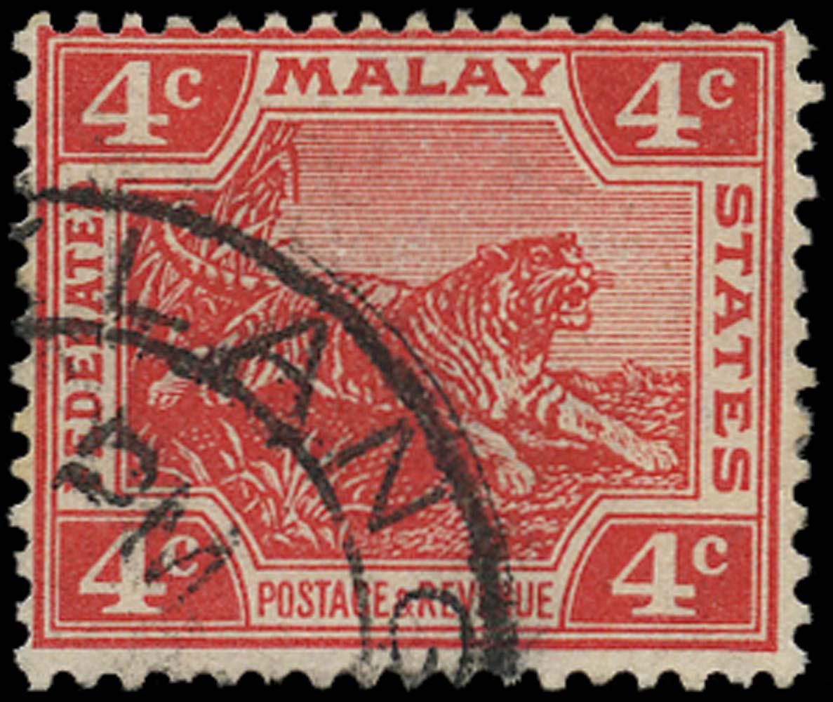 MALAYA - F.M.S. 1904  SG38b Used 4c Tiger die II watermark upright
