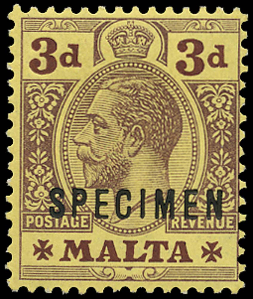 MALTA 1914  SG78bs Specimen unissued 3d purple on yellow (white back)