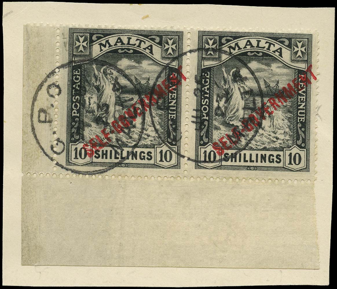 MALTA 1922  SG121 Used Self-Government 10s Script watermark