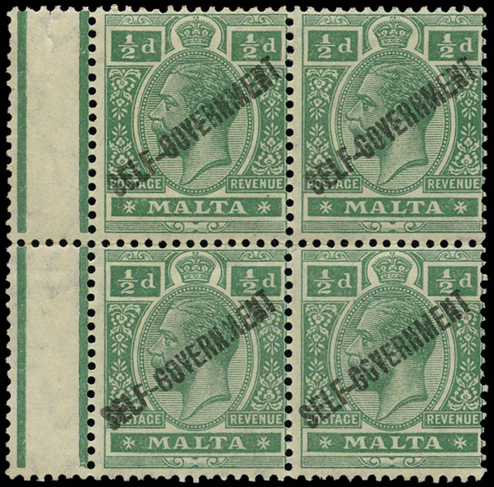 MALTA 1922  SG106w Mint Self-Government ½d Script watermark inverted