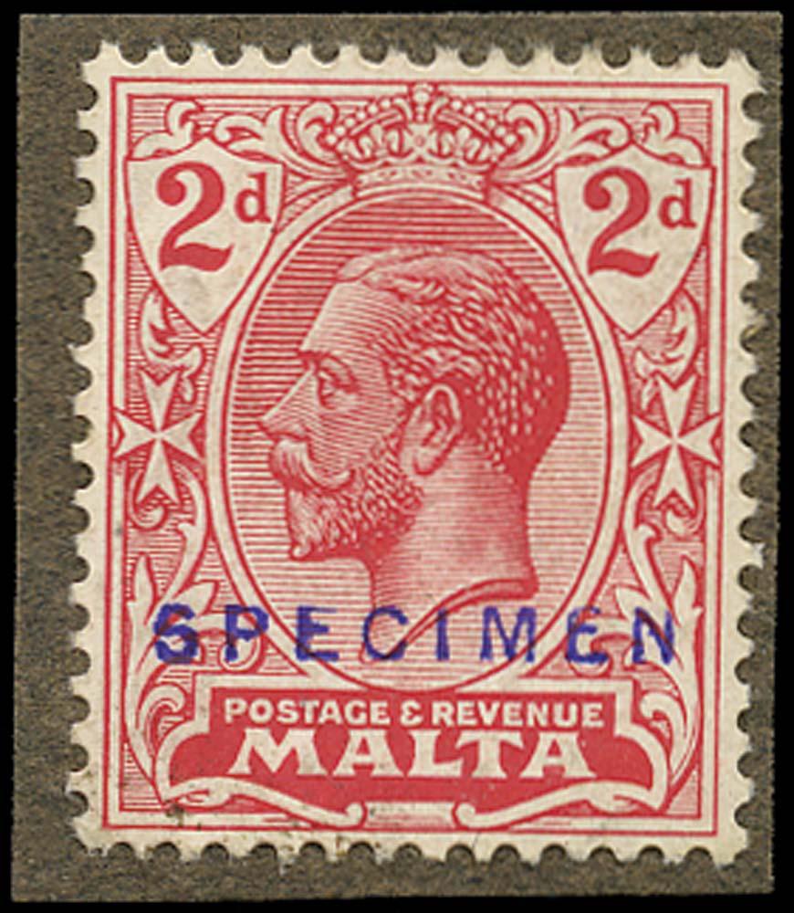 MALTA 1921  SG100 Proof 2d KGV printer's sample opt Specimen