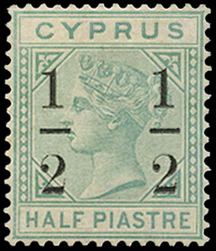 CYPRUS 1886  SG28 Mint ½ on ½pi emerald-green watermark CC