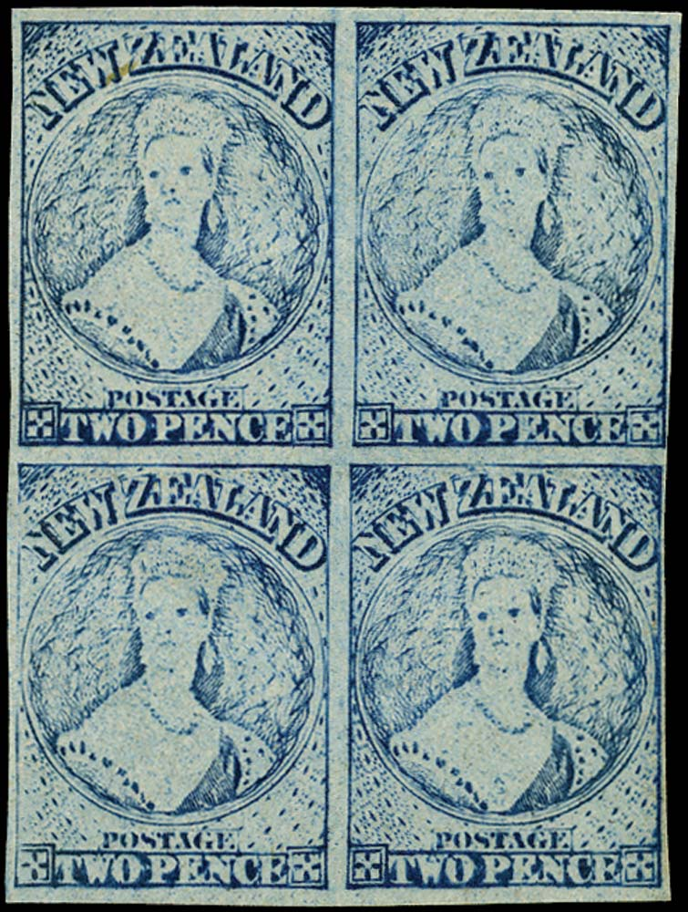 NEW ZEALAND 1864  SG113 Proof 2d blue worn state of plate 1