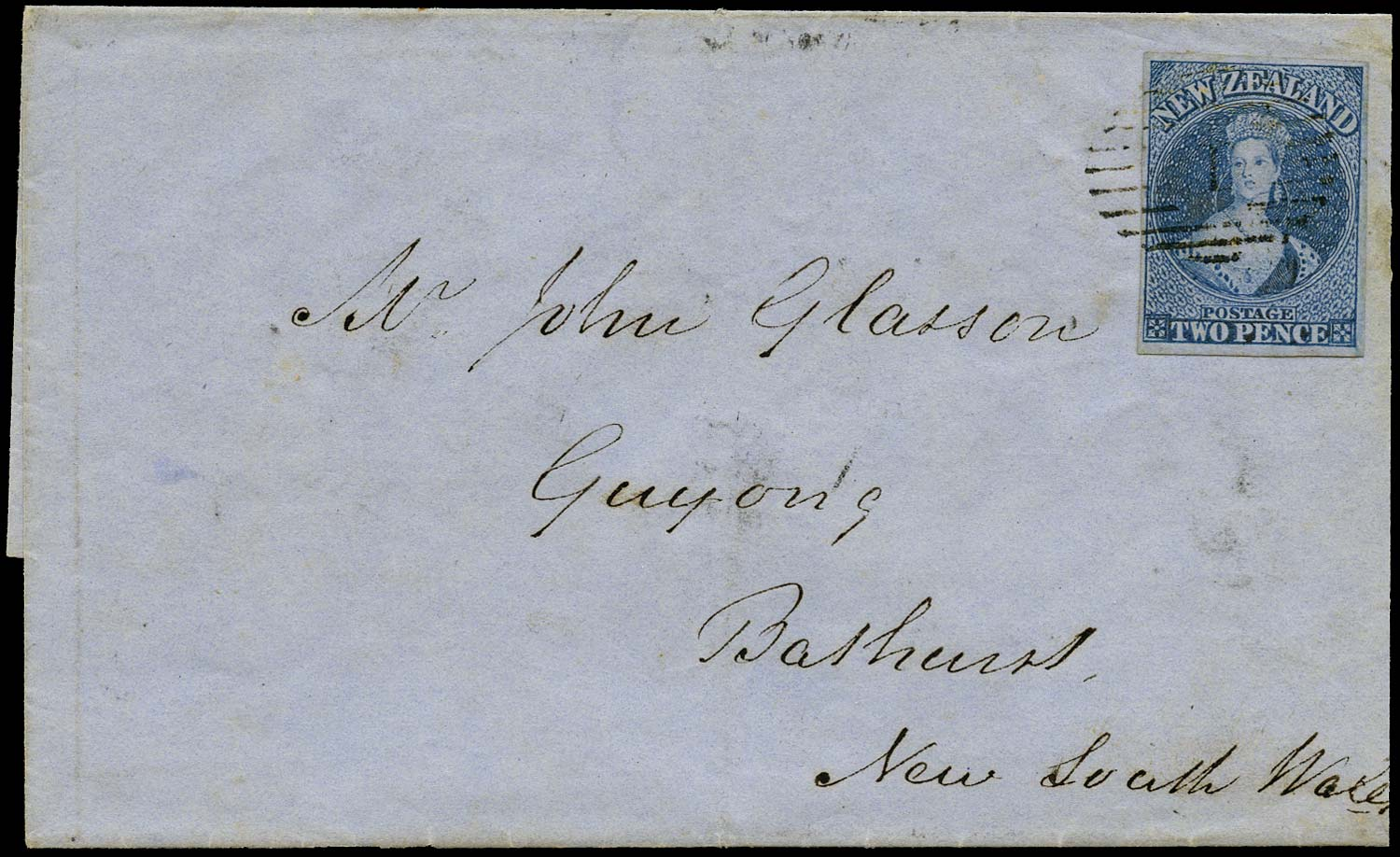 NEW ZEALAND 1857  SG5 Cover Richardson 2d blue on blue paper to Guyong