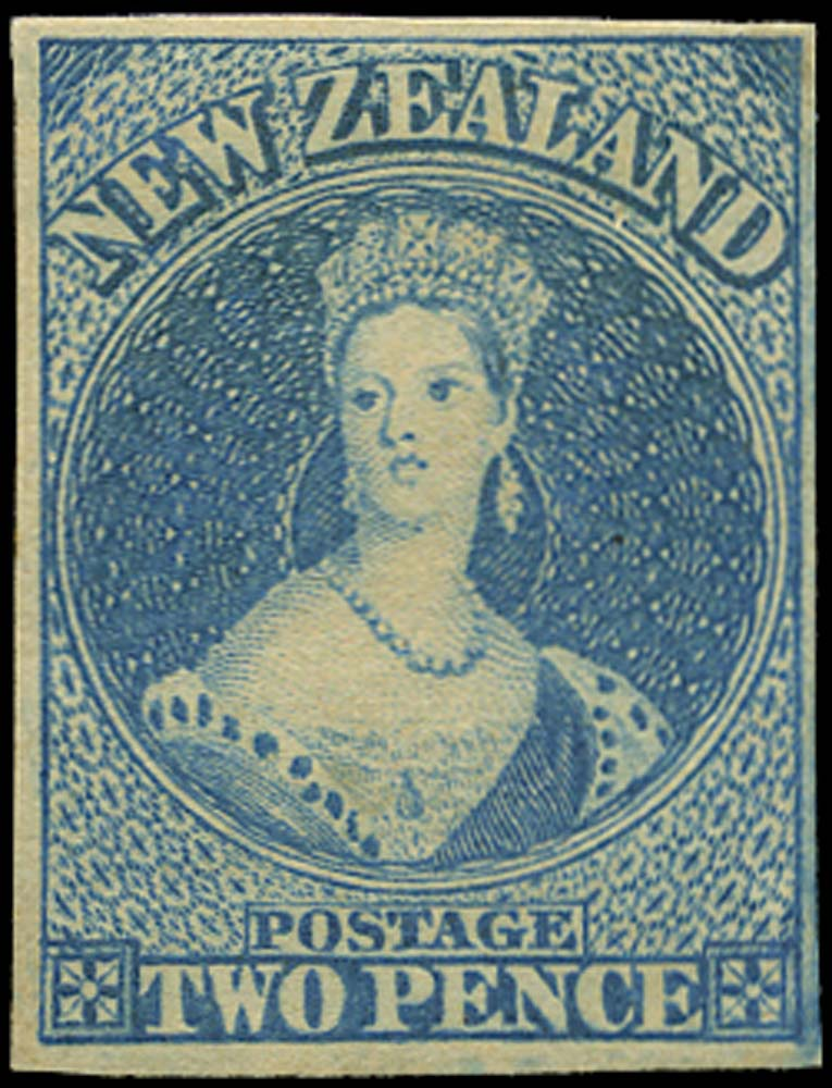 NEW ZEALAND 1857  SG10 Mint 2d blue on white paper no watermark