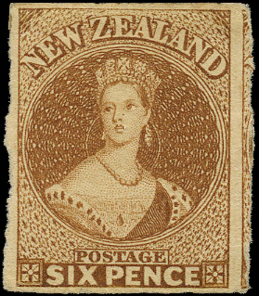 NEW ZEALAND 1857  SG13 Mint 3d brown on white paper no watermark