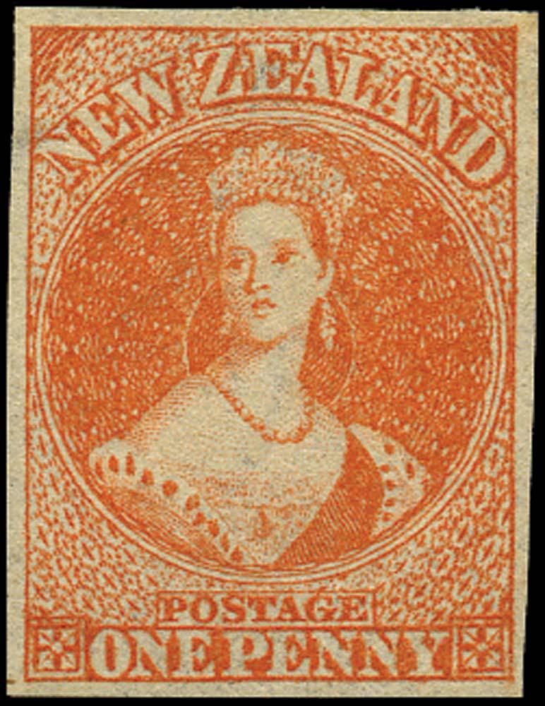 NEW ZEALAND 1862  SG33 Mint 1d orange-vermilion watermark large star