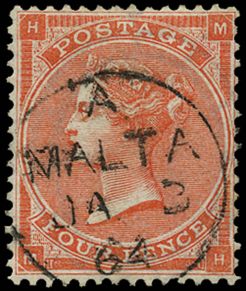 GB 1863  SG81 Pl.4 Used superb Malta cds example