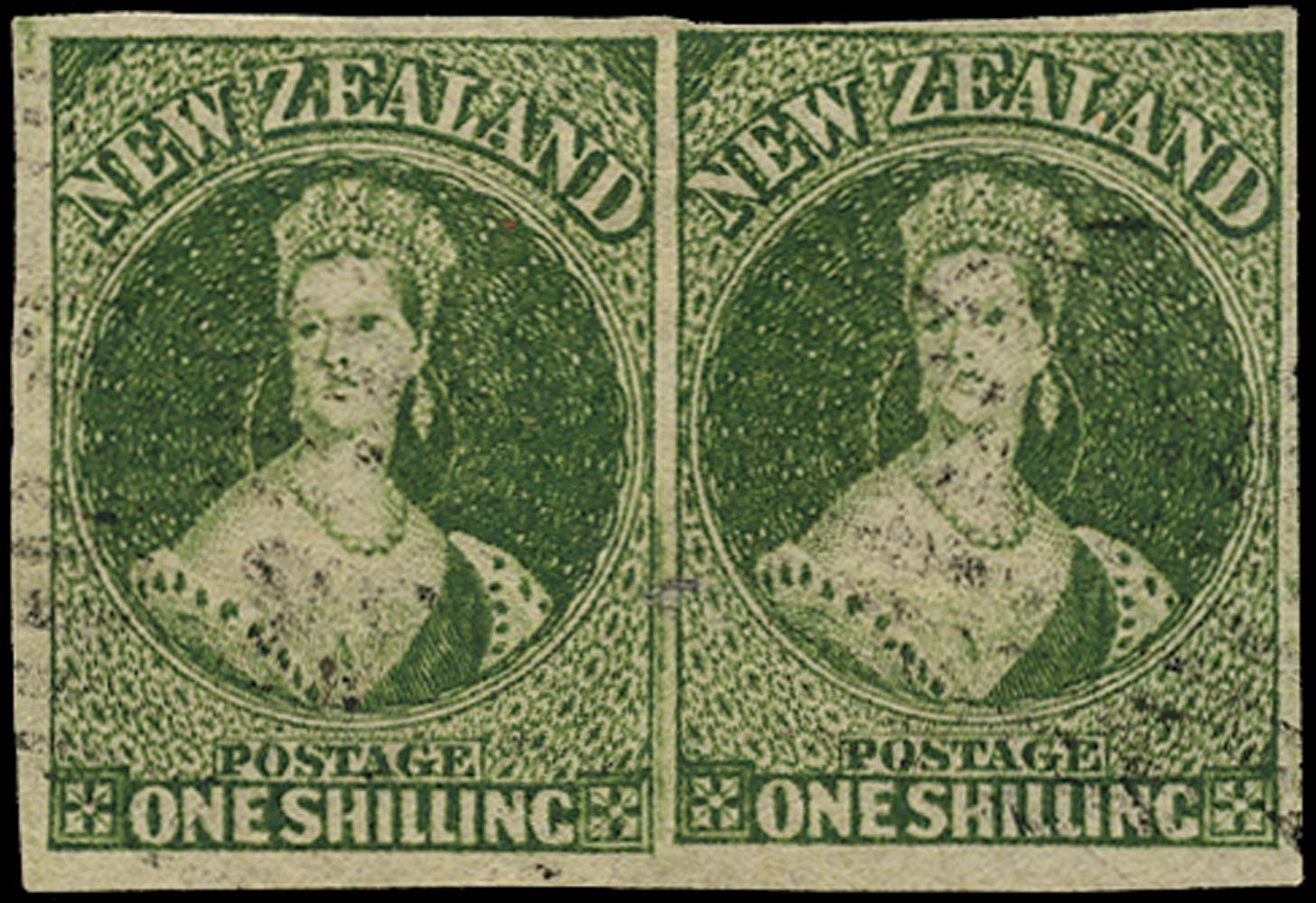 NEW ZEALAND 1862  SG46 Used 1s deep green watermark large star