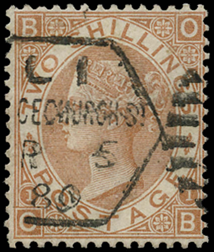 GB 1880  SG121 Pl.1 Used Datestamp example, Early usage