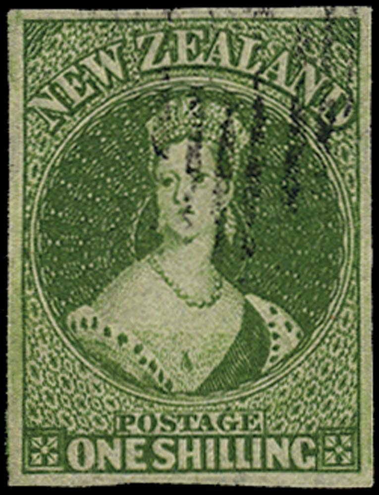 NEW ZEALAND 1862  SG86 Used 1s deep green pelure paper