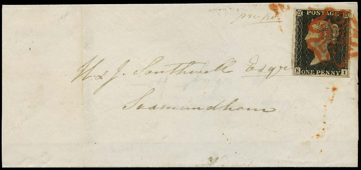 GB 1840  SG2 Pl.2 Cover Ipswich to Saxmundham (KI)