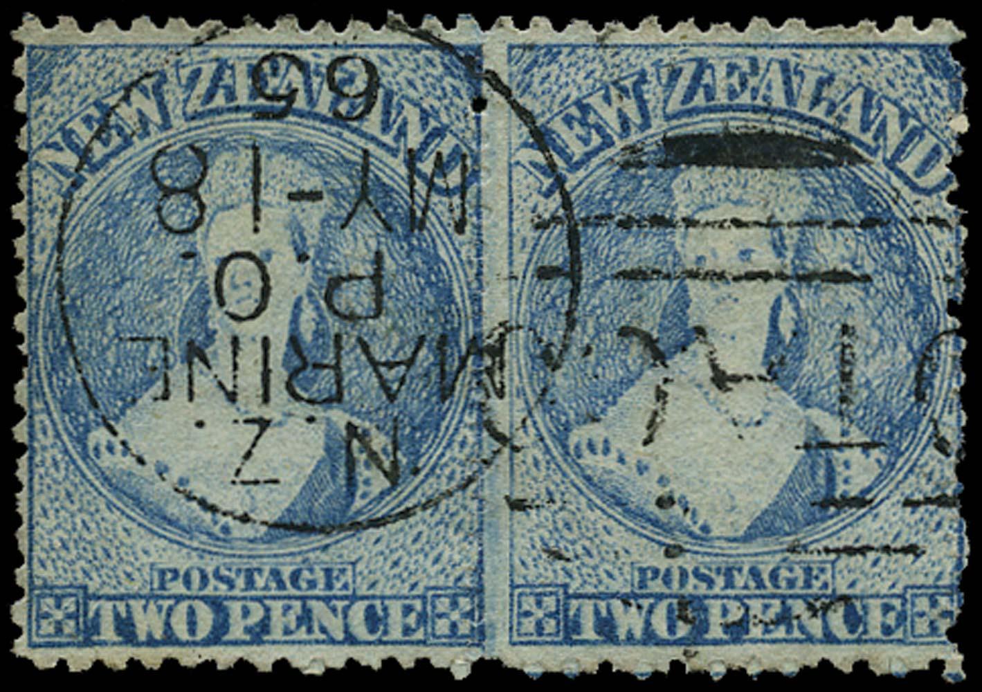 NEW ZEALAND 1864  SG105 Used 2d pale blue Otago Marine P.O. paquebot duplex