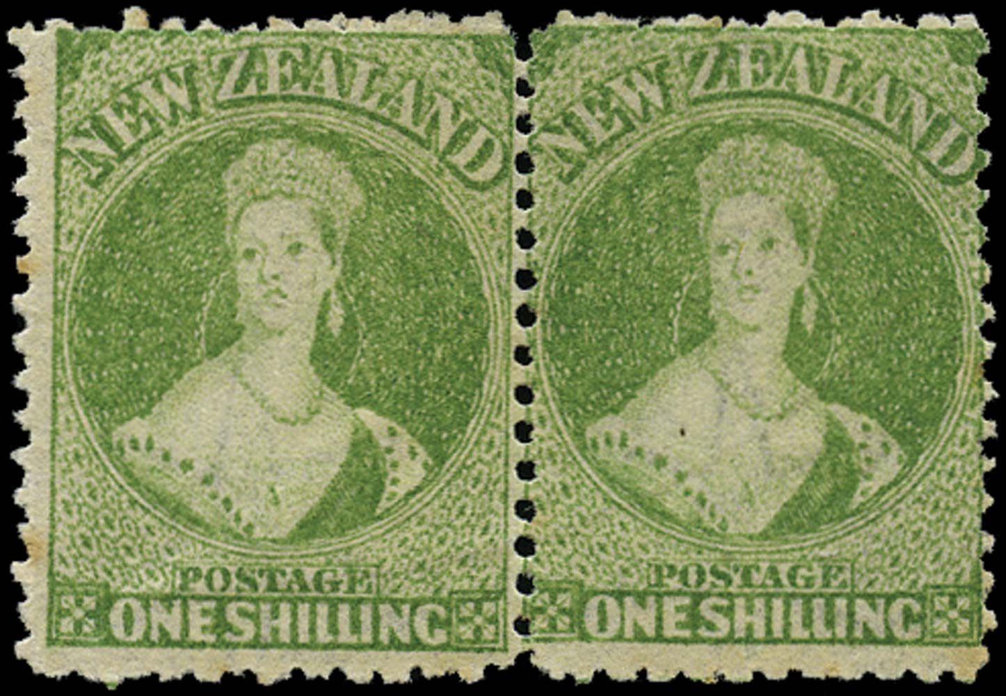 NEW ZEALAND 1864  SG125 Mint 1s yellow-green perf 12½
