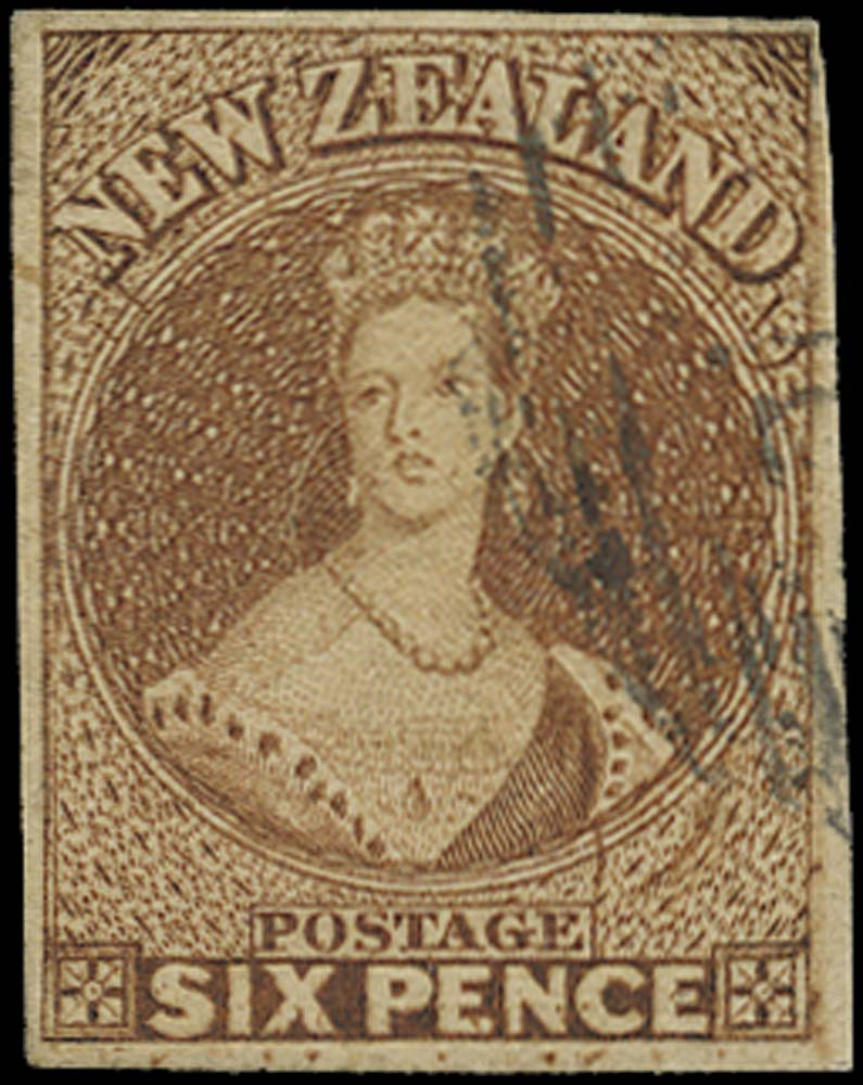 NEW ZEALAND 1857  SG13 var Used 6d brown no watermark R17/10 re-entry