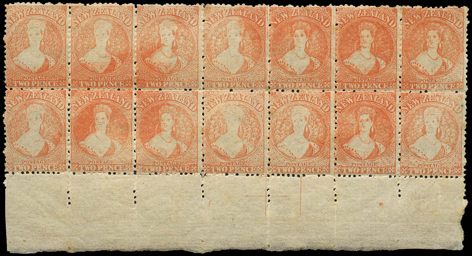 NEW ZEALAND 1873  SG138a Mint 2d vermilion no watermark perf 12½ retouched