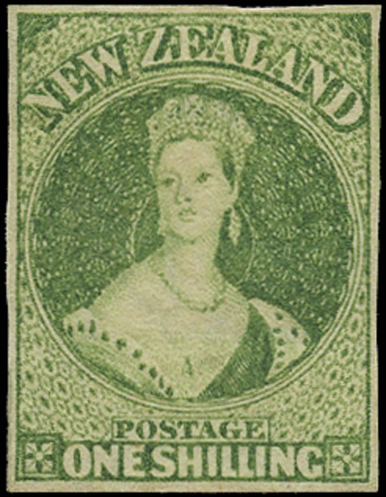 NEW ZEALAND 1864  SG100 Mint 1s green watermark NZ