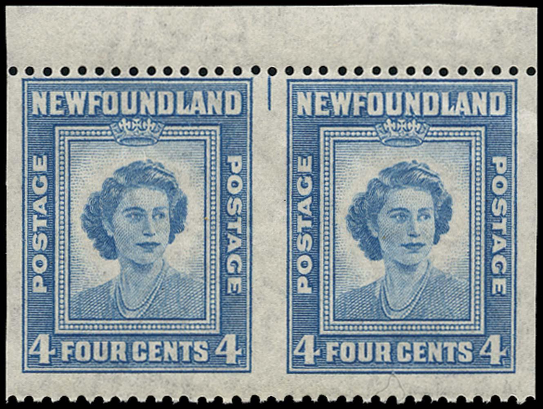 NEWFOUNDLAND 1947  SG293a Mint 21st Birthday 4c imperf vertically unmounted