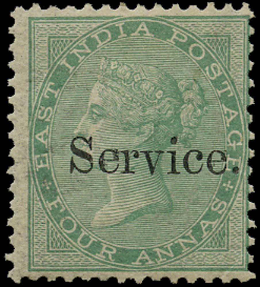 INDIA 1866  SGO13 Official 4a green Elephant Head watermark