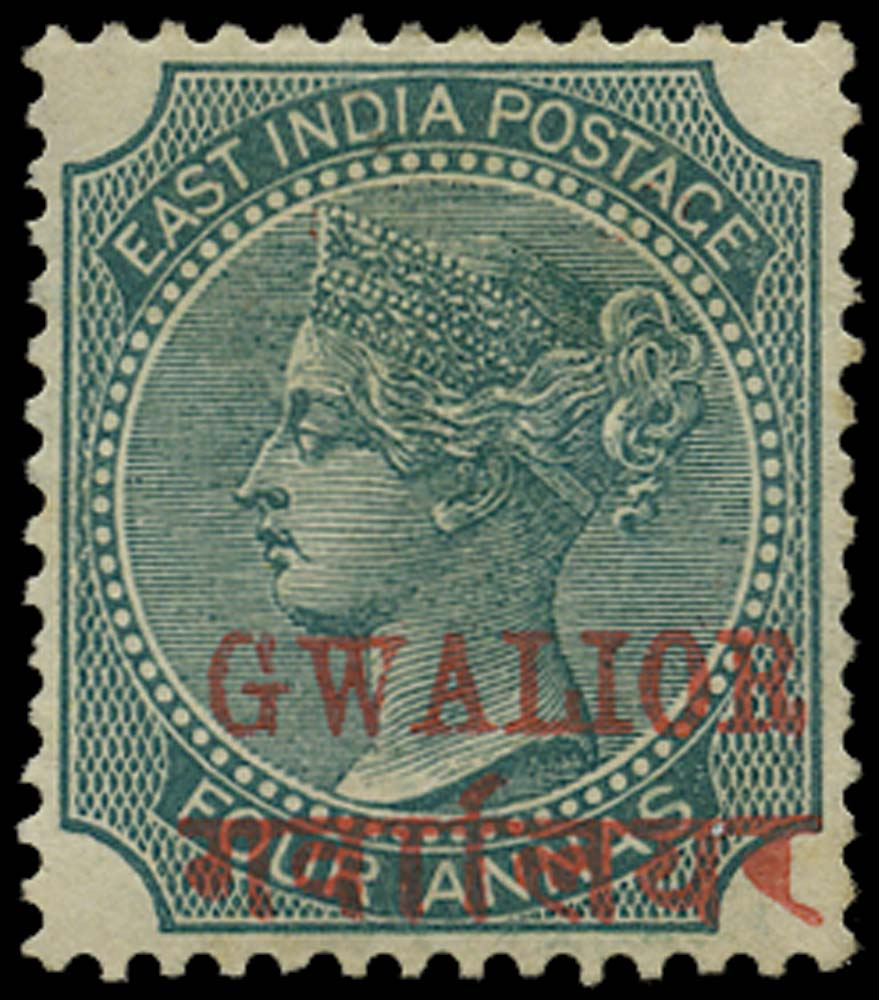 I.C.S. GWALIOR 1885  SG14b Mint 4a green type 2 overprint with Long Hindi
