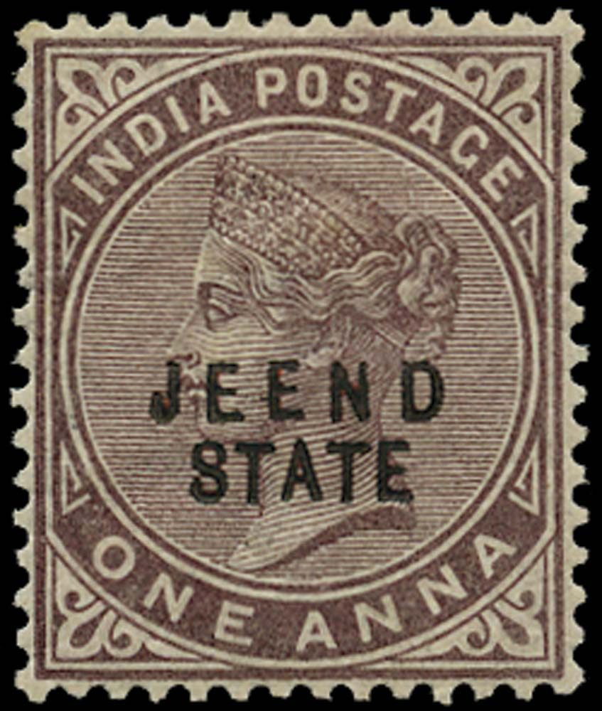 I.C.S. JIND 1885  SG8 Mint 1a brown-purple JEEND STATE overprint