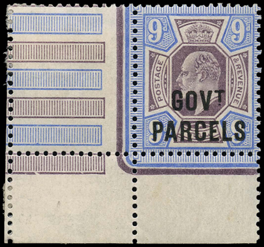 GB 1902  SGO77 Official 9d Govt. Parcels U/M o.g. example