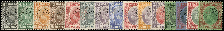 MALAYA - PERAK 1935  SG88s/102s Specimen set of 15 to $5 ex King Farouk of Egypt