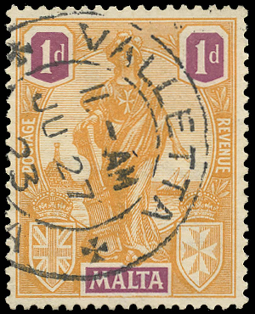 MALTA 1922  SG125w Used 1d watermark Crown to right of CA