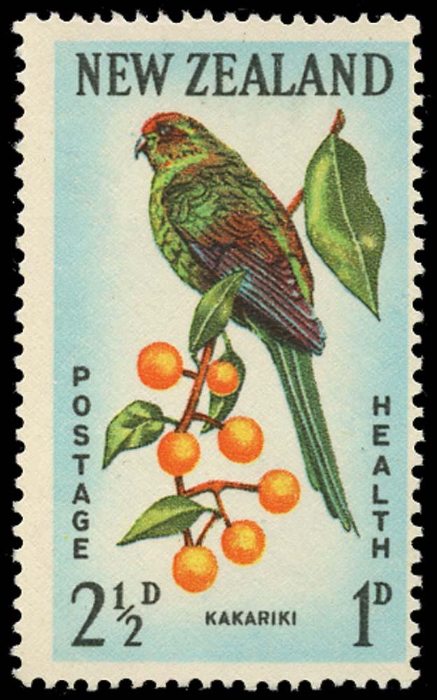 NEW ZEALAND 1962  SG812b Mint Health 2½d + 1d error printed on the gummed side