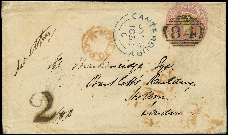 GB 1899 Cover 1d Pink envelope