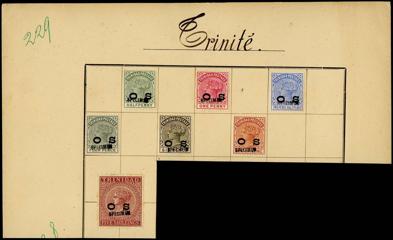 TRINIDAD 1894  SGO1/7 Specimen set of 7 to 5s ex Tunisia UPU archive