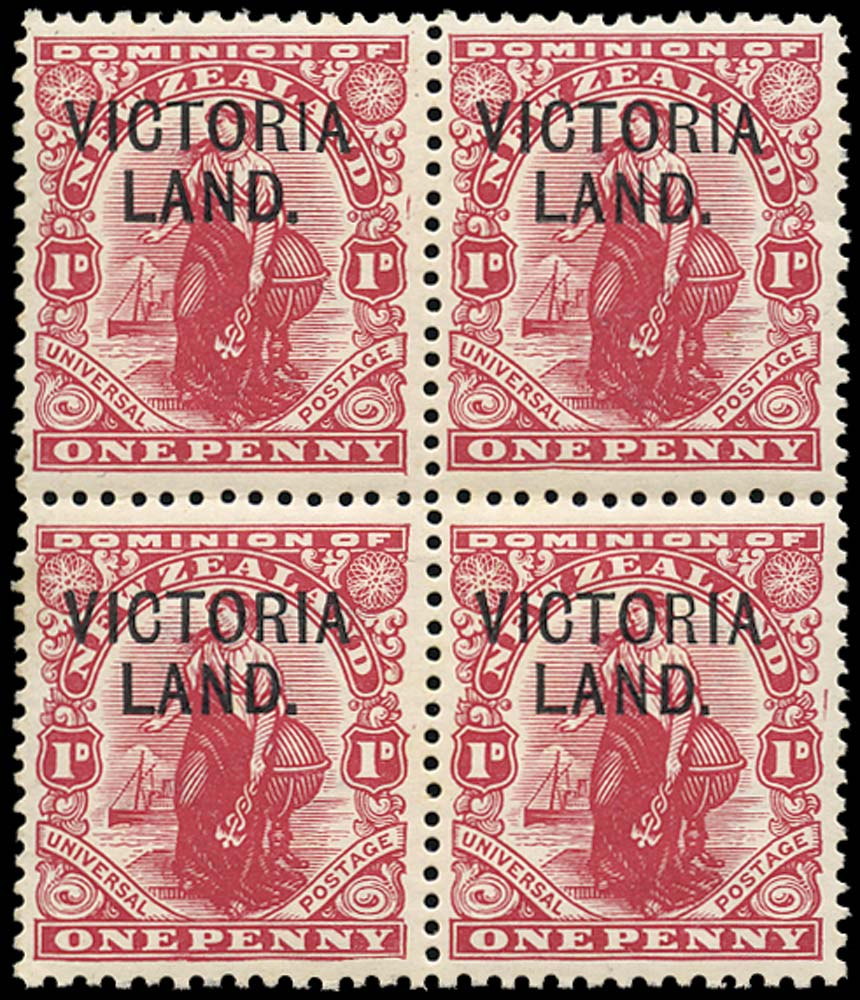 N.Z. ANTARCTICA EXPD 1911  SGA3 Mint unmounted Victoria Land Scott Expedition 1d plate 13 with plate flaws on R3/14 and R4/13R3-4/13-14