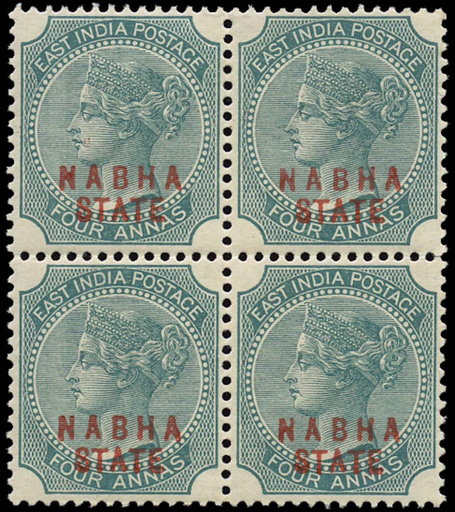 I.C.S. NABHA 1885  SG12 Mint 4a green type 2 overprint in red