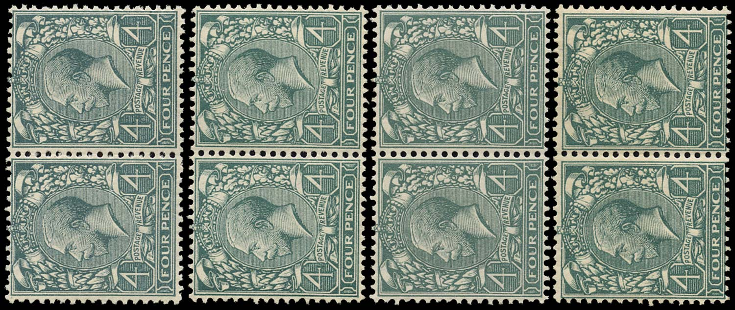 GB 1913  SG379var Mint group of four broken Dandy Roll watermarks