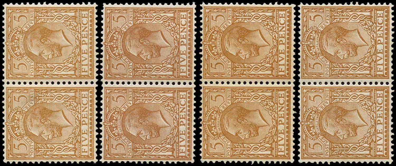 GB 1913  SG381var Mint group of four broken Dandy Roll watermarks