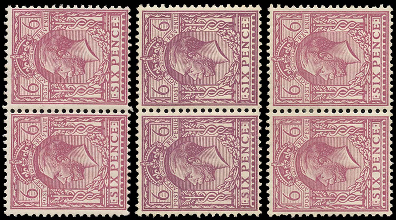 GB 1913  SG384var Mint group of three broken Dandy Roll watermarks