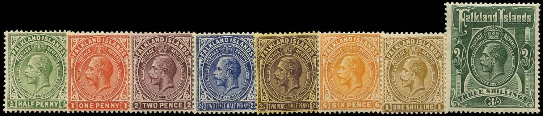 FALKLAND ISLANDS 1921  SG73/80 Mint Script watermark set of 8