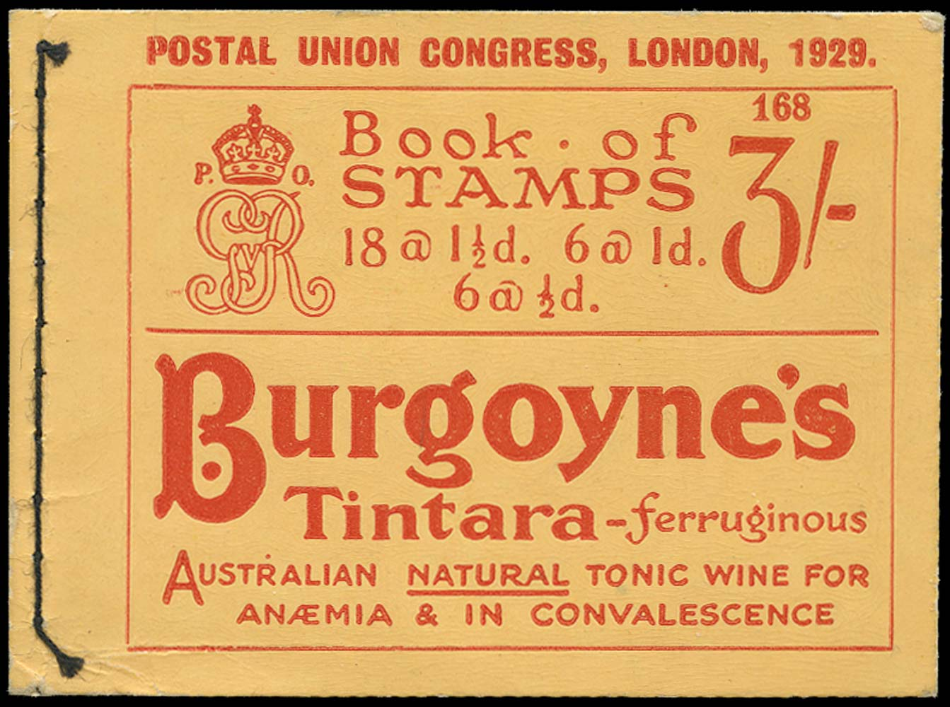 GB 1929  SGBB25 Booklet (Edition No. 168).